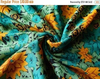 10% OFF 1 yard of Rayon Fabric, Indian Fabric, Floral Print Fabric, Teal Green Rayon Fabric