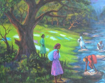 Ethiopia Painting Women Washing in the River - Large, Signed