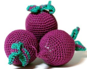 ON SALE 10% OFF Crochet beet-root Pretend Play Amigurumi food Crochet vegetables Food Veggies Crochet food Play Kitchen food Tactile toy Edu