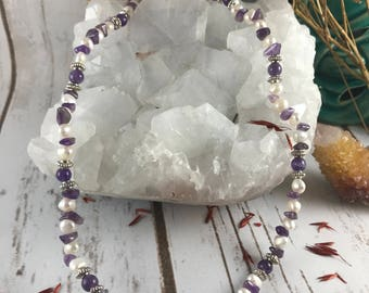 Amethyst and Fresh Water Pearl Necklace