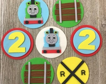 Thomas the Train Cupcake Toppers - Edible Fondant - Set of 12