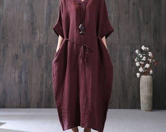 Loose tunic dress short sleeve summer dress linen dress linen maxi dress loose caftan plus size clothing long cotton dress