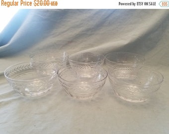Set of 6 nice Cut crystal thumbprint pattern berry bowls 4.5 x 2.5 inches