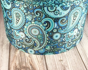 "3"" Wide paisley ribbon - Blue paisley - Funky ribbon - Trendy ribbon - Hair bow ribbon - Craft ribbon - Pretty paisley - Craft supplies"