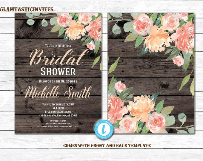 Rustic Bridal Shower Invitation, Rustic Floral Bridal Shower Invitation, INSTANT DOWNLOAD, Country Bridal Shower Invitation, Rustic Shower
