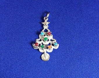 50% Off Summer Sale Christmas Tree Charm Sterling Silver & Rhodium Plated