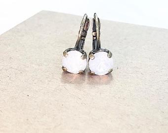 Swarovski Crystal Drop Earrings in White Opal