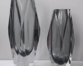Grey Murano 16,5 cm Faceted Sommerso Vase '70