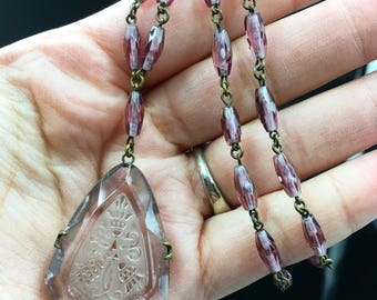 Antique 1920's purple echted glass pendant necklace.  Great 3 anniversary gift.