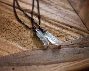 Clear Quartz Necklace - Quartz Jewelry - Raw Quartz Necklace - Crystal Jewelry