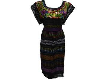 Embroidery mexican Dress, Boho dress, Frida Kahlo dress, Mexican embroidered dress, Mexican embroidery dress, Frida Kahlo fits M/L M33