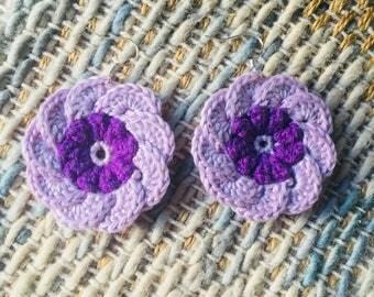 Purple crochet flower earrings with sterling silver findings
