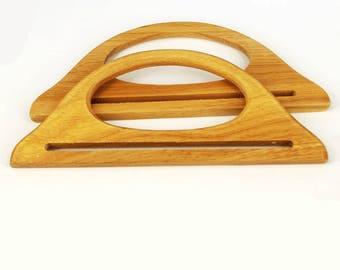 Bag Handles Medium Pair of Wood / wooden D Shaped making bags Craft , Sewing BH3