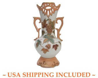 Art Nouveau Porcelain Cabinet Vase Reticulated and Gilded
