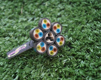 Electric black multicolor flower ring