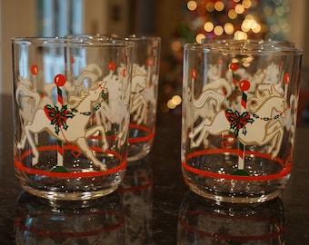 Set of 4 Vintage Christmas Carousel Double Old Fashion Glasses/ Low Ball Cocktail Glasses/ 1980s Christmas/ Christmas Party/ Libbey