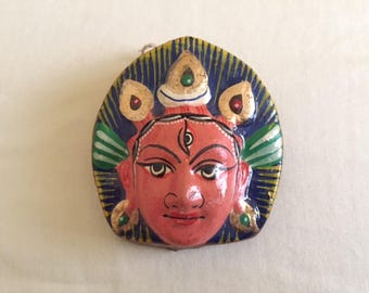 Vintage Painted Paper Mache Hindu God Miniature Mask
