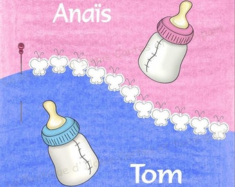 For twins birth announcement - editable