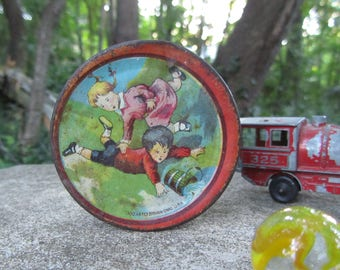 """Vintage Tin Litho Toy Plate """"Jack and Jill"""" """"Ohio Art"""" Dish """"Mother Goose"""" Decor Nursery Rhyme Tea Set Accessory 1930s Collectible Gift"""