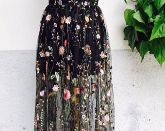 Embroidered tulle dress