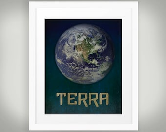 Terra Latin Earth Print, Planet Earth art with distressed grunge texture background in dark purple and blues, World Globe INSTANT DOWNLOAD