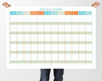 Large Printable Wall Planner 2018 Calendar, 8 PDF sizes inc up to A1 & 17x22, Digital Download, Landscape Organiser, Simple Bunting Design