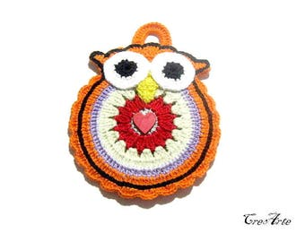Orange crochet owl potholder, presina gufo arancione all'uncinetto