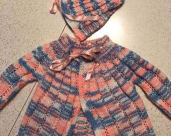 Vintage handmade Knit Girls Jacket and Hat Blue and Pink Photo Prop