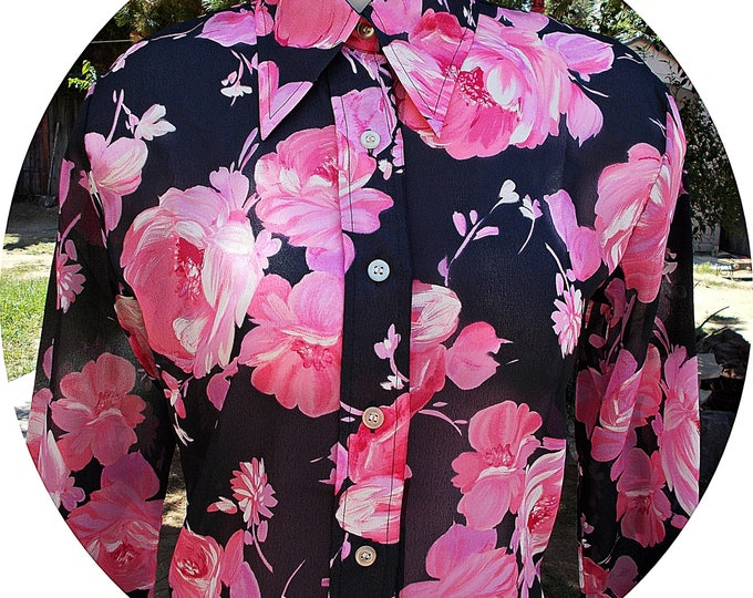 Vintage 70s Barbara Lee 100% Nylon Black Pink Flowers Floral Disco Mod Preppy Womens Long Sleeve Blouse Shirt Top