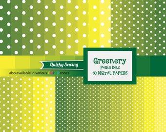 Green Polka Dots Digital Paper, Greenery Polka Dots Paper, Green Ombre Polka Dots Paper, Polka Dots Digital Paper, Spring Digital Paper Pack