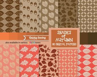 Copper Autumn Digital Paper, Brown Leaves Papers, Acorns Digital Paper, Autumn Paper Pack, Thanksgiving Paper, Fall Paper, Fall Paper Pack