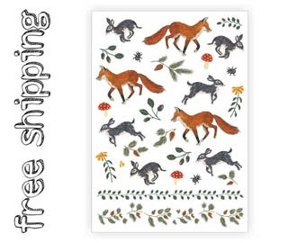 "Temporary tattoos set ""Fox and Rabbit"" with cute walfdorf woodland forest animals: bunny and red fox kids body stickers. TA056"