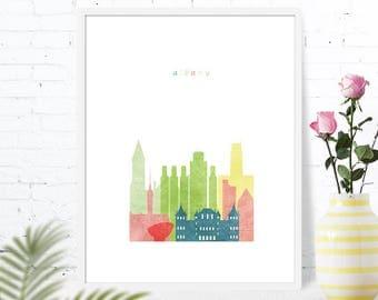 Albany NY map Albany New York Albany skyline Map of Albany printable Poster download Nursery travel New York State Wall art GreenGreenDreams