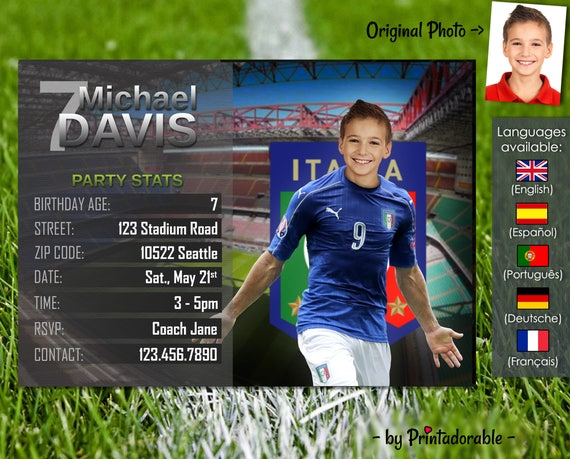 Soccer Invitation - Italy Football Invite - Digital Birthday Printables - Customizable face and team - Choose your team!