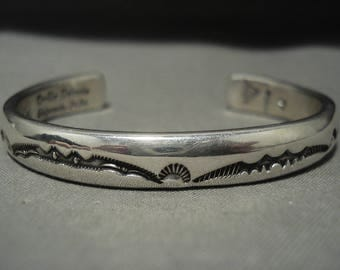 Heavy And Thick Vintage Navajo Orville Tsinnie (d.) Silver Bracelet