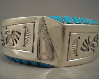 Stunning Vintage Navajo Old Sleeping Beauty Turquoise Sterling Silver Bracelet