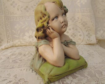 Vintage little girl on pillow plaster Statue / VTG Plaster Young Girl / VINTAGE girl plaster bust