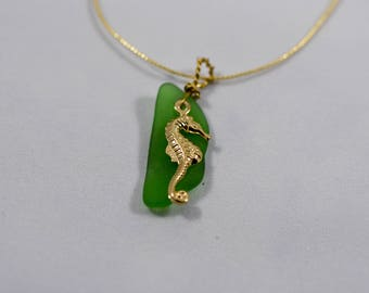 Seaglass Pendant with seahorse Charm