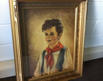 """Vintage Picture - Anne Allaben """" Chiko """" - Gypsy Boy - Reproduction Print - Wood Shadow Box Frame"""
