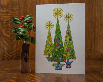 Retro Christmas trees, Christmas greeting card, note card, winter, holiday, colorful, unique handmade, Christmas decor, whimsical, snowflake
