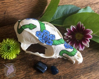 Viper and Flowers - REAL grey fox skull, art, artwork, snake, flowers, painting, oddity, gift, unique, bone, animal, witch, hand-painted.