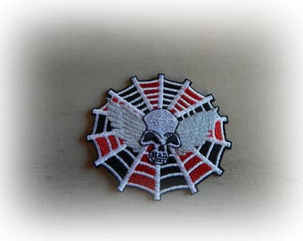 badge applique patch fusible skull / Spider Web iron-on or sew 8 * 7 cm