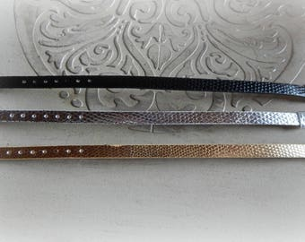 3 bracelets in faux leather effect snake black, silver and gold 22 cm
