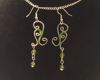 Wire Wrapped, Fire-polish Green Crystal, Wire Wrapped Jewelry
