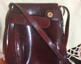 1970's Burgundy Leather Cross-Body Bucket Bag