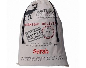 Personalized Santa Sack - Christmas Gifts - Canvas Tote- Christmas tote - Holiday Sacks - Holiday Bags - Santa Sack