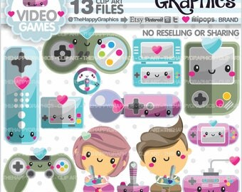 Video Game Clipart, 80%OFF, Video Game Graphics, COMMERCIAL USE, Video Game Stuff, Planner Accessories, Technology Clipart, Gaming