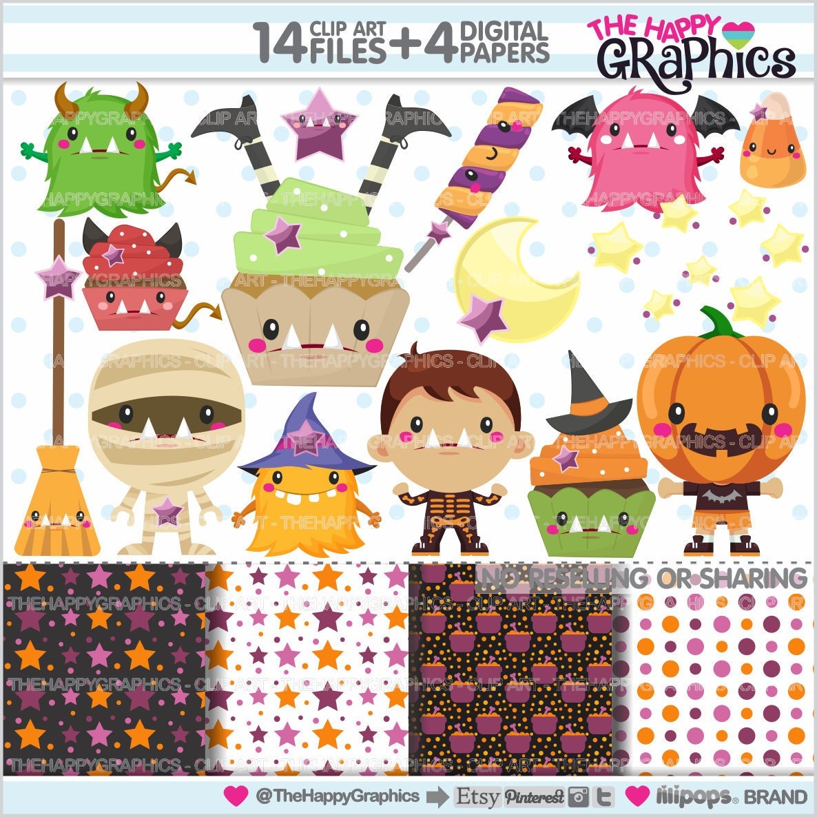 80%OFF - Halloween Clipart, Halloween Graphics, COMMERCIAL USE ...