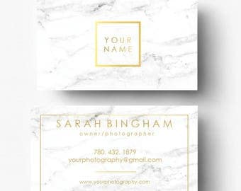 Gold Foil & Marble Business Cards - Gold Logo - Photography Logo - Marble Branding - Marble Logo - Pre-made Template - Custom Business Card