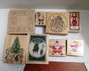 Vintage Rubber Stamp Grab bag Christmas #3